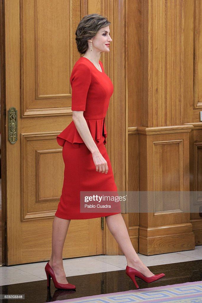 Queen Letizia of Spain meets Spanish figure skater Javier Fernandez at Zarzuela Palace on April 22, 2016 in Madrid, Spain.