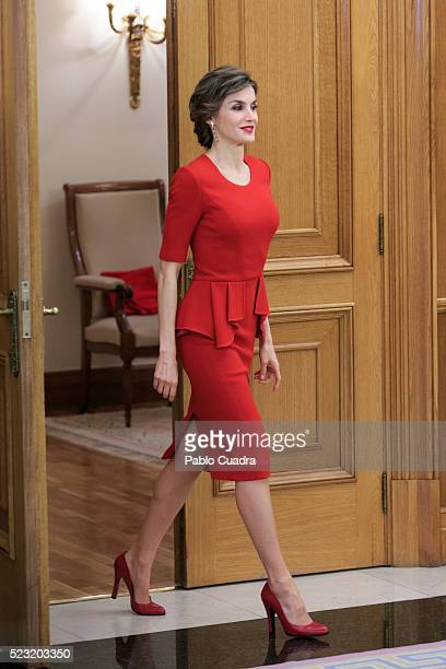 Queen Letizia of Spain meets Spanish figure skater Javier Fernandez at Zarzuela Palace on April 22 2016 in Madrid Spain