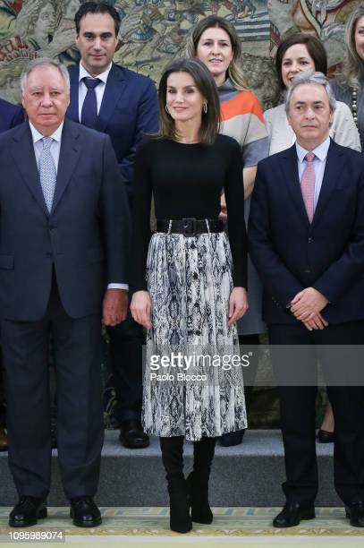 Queen Letizia of Spain meets the Orginizing committee of 'Fruit Attraction' at Zarzuela Palace on January 18, 2019 in Madrid, Spain.