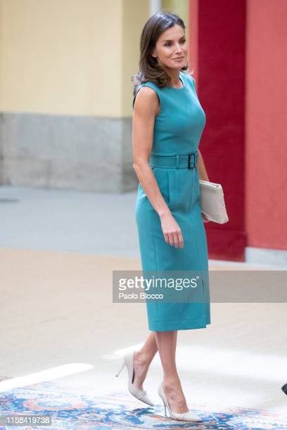 Queen Letizia of Spain meets with the members of the Boards of Trustees of the Princess of Asturias Foundation at the Royal Palace of El Pardo on...