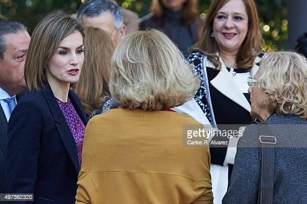 Queen Letizia of Spain Mujeres Por Africa Foundation President Maria Teresa Fernandez de la Vega and Madrid Mayor Manuela Carmena attend a meeting...