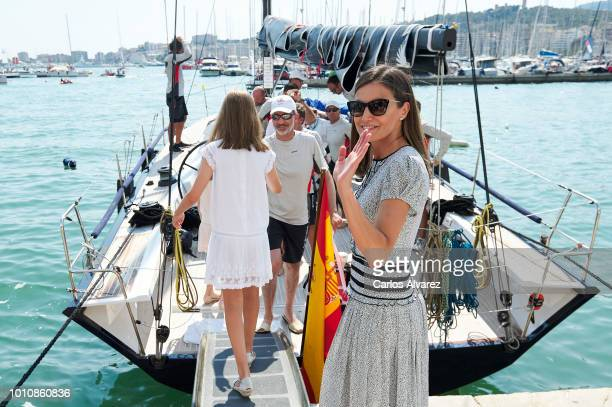 Queen Letizia of Spain pick up King Felipe of Spain at the end of the last day of the 37th Copa del Rey Mapfre sailing cup on August 4 2018 in Palma...