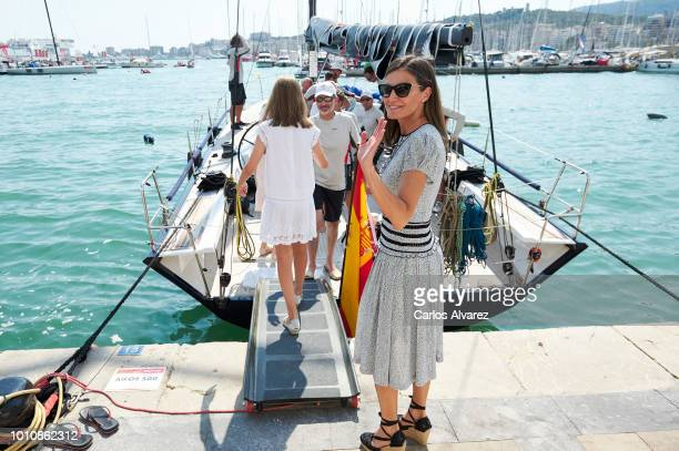Queen Letizia of Spain picks up King Felipe of Spain at the end of the last day of the 37th Copa del Rey Mapfre sailing cup on August 4 2018 in Palma...