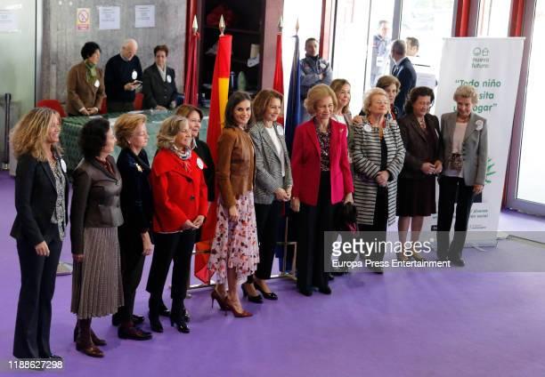 Queen Letizia of Spain Pina Sanchez Errszuriz and Queen Sofia of Spain attend 'Rastrillo Nuevo Futuro' on November 19 2019 in Madrid Spain