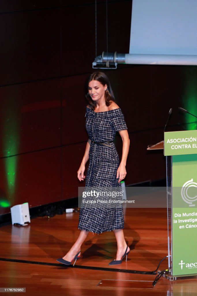 Queen Letizia Of Spain Attends AECC Event In Madrid : ニュース写真