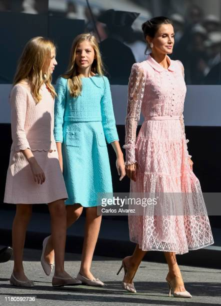Queen Letizia of Spain Princess Leonor and Princess Sofia attend the National Day Military Parade on October 12 2019 in Madrid Spain