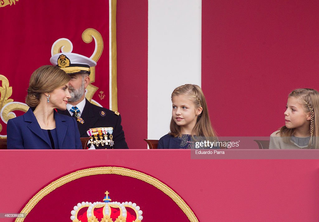 Queen Letizia of Spain, Princess Leonor and Princess Sofia attend the National Day Military Parade 2015 on October 12, 2015 in Madrid, Spain.