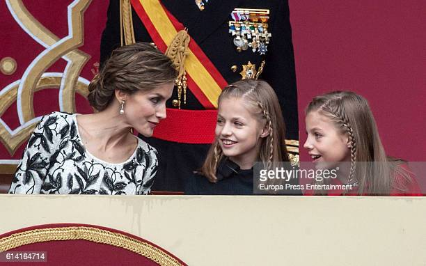 Queen Letizia of Spain Princess Leonor and Princess Sofia attend the National Day Military Parade 2016 on October 12 2016 in Madrid Spain