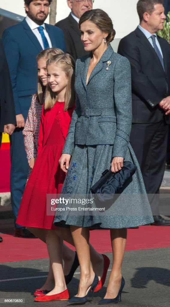 Queen Letizia of Spain, Princess Leonor and Princess Sofia attend the National Day Military Parade 2017 on October 12, 2017 in Madrid, Spain.