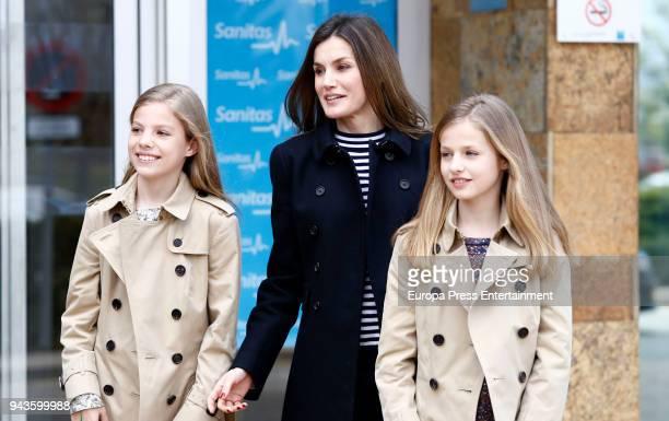 Queen Letizia of Spain Princess Leonor and Princess Sofia visit King Juan Carlos at La Moraleja Hospitalon April 8 2018 in Madrid Spain