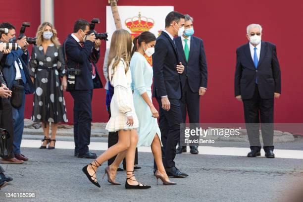 Queen Letizia of Spain, Princess Leonor and the president of the Spanish government Pedro Sánchez attend the National Day Military Parade on October...