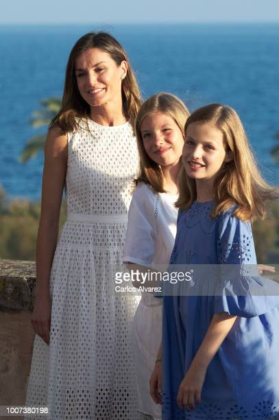 Queen Letizia of Spain Princess Leonor of Spain and Princess Sofia of Spain pose for the photographers during the summer session at the Almudaina...