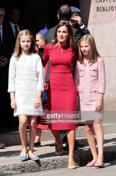 Queen Letizia of Spain, Princess Leonor of Spain and Princess Sofia of Spain attend the Centenary of the Catholic Coronation of the Virgin of...