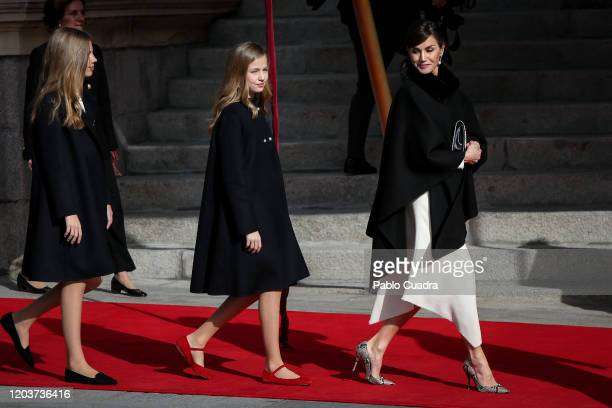 Queen Letizia of Spain, Princess Leonor of Spain and Princess Sofia of Spain attend the solemn opening of the 14th legislature at the Spanish...