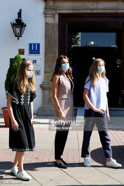Queen Letizia of Spain, Princess Leonor of Spain and Princess Sofia of Spain are seen leaving from the Parador of Merida on July 23, 2020 in Merida,...