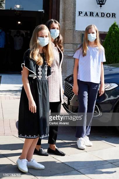 Queen Letizia of Spain Princess Leonor of Spain and Princess Sofia of Spain are seen leaving from the Parador of Merida on July 23 2020 in Merida...