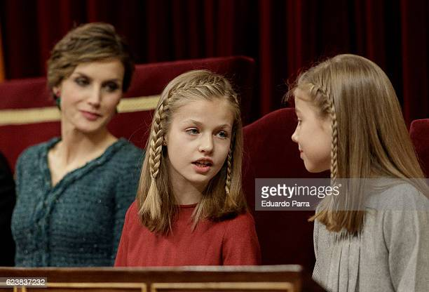Queen Letizia of Spain Princess Leonor of Spain and Princess Sofia of Spain attend the solemn opening of the twelfth legislature at the Spanish...