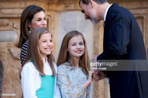 Queen Letizia of Spain Princess Leonor of Spain Princess Sofia of Spain abd King Felipe VI of Spain attend the Easter mass on April 1 2018 in Palma...