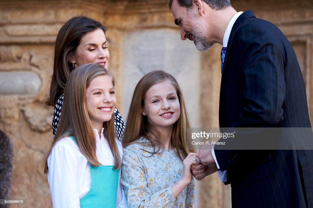 Queen Letizia of Spain, Princess Leonor of Spain, Princess Sofia of Spain abd King Felipe VI of Spain attend the Easter mass on April 1, 2018 in Palma de Mallorca, Spain.