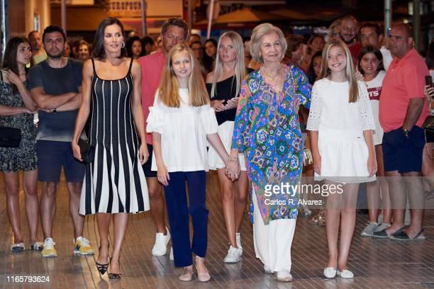 Queen Letizia of Spain, Princess Leonor of Spain, Queen Sofia and Princess Sofia of Spain leave the Auditorium of Palma de Mallorca after attending...