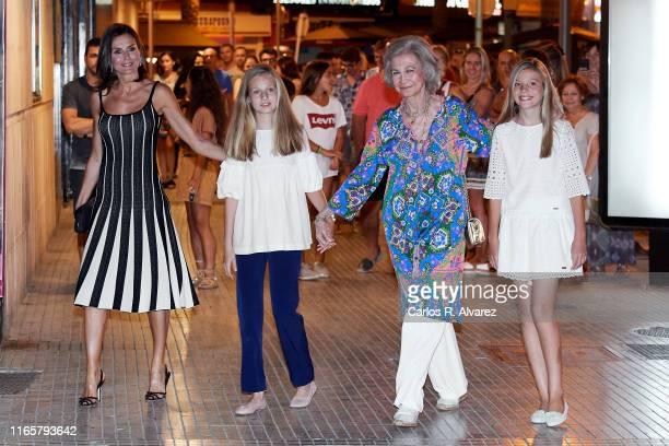 Queen Letizia of Spain Princess Leonor of Spain Queen Sofia and Princess Sofia of Spain leave the Auditorium of Palma de Mallorca after attending 'El...