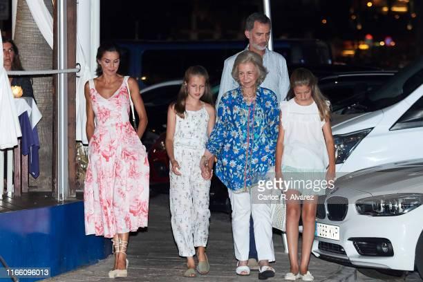 Queen Letizia of Spain Princess Leonor of Spain Queen Sofia King Felipe VI of Spain and Princess Sofia of Spain leave 'Ola de Mar' restaurant after a...