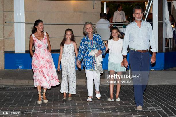 Queen Letizia of Spain Princess Leonor of Spain Queen Sofia Princess Sofia of Spain and King Felipe VI of Spain leave 'Ola de Mar' restaurant after a...