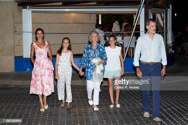 Queen Letizia of Spain, Princess Leonor of Spain, Queen Sofia, Princess Sofia of Spain and King Felipe VI of Spain leave 'Ola de Mar' restaurant...