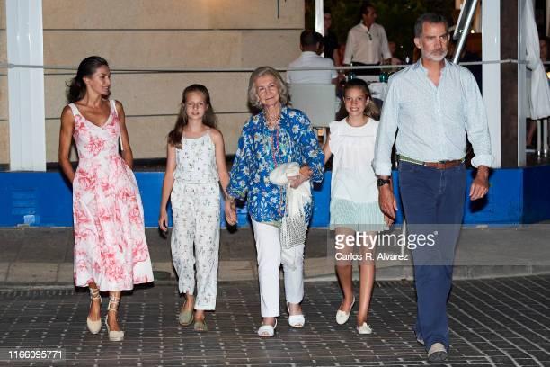 Queen Letizia of Spain, Princess Leonor of Spain, Queen Sofia, Princess Sofia of Spain and King Felipe VI of Spain leave 'Ola de Mar' restaurant...