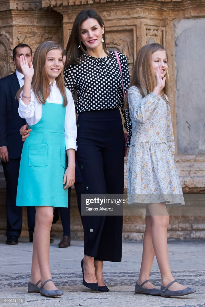 Queen Letizia of Spain (C), Princess Sofia of Spain (L) and Princess Leonor of Spain (R) attend the Easter mass on April 1, 2018 in Palma de Mallorca, Spain.