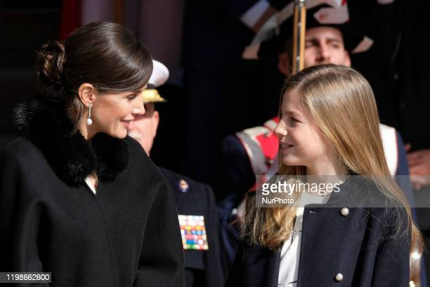 Queen Letizia of Spain Princess Sofia of Spain attend the solemn opening of the 14th legislature at the Spanish Parliament on February 03 2020 in...