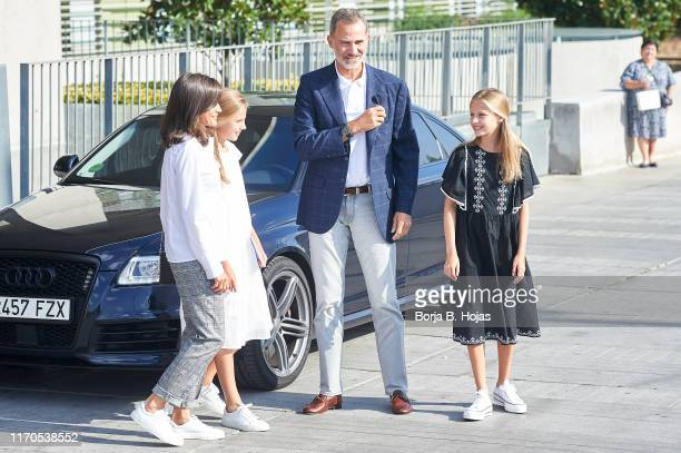 Queen Letizia of Spain, Princess Sofia of Spain, King Felipe VI of Spain and Princess Leonor is seen arriving to visit King Juan Carlos at Quiron...