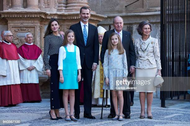 Queen Letizia of Spain Princess Sofia of Spain King Felipe VI of Spain King Juan Carlos Princess Leonor of Spain and Queen Sofia attend the Easter...