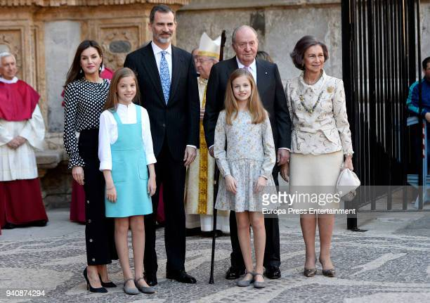 Queen Letizia of Spain, Princess Sofia of Spain, King Felipe VI of Spain, King Juan Carlos, Princess Leonor of Spain and Queen Sofia attend the...