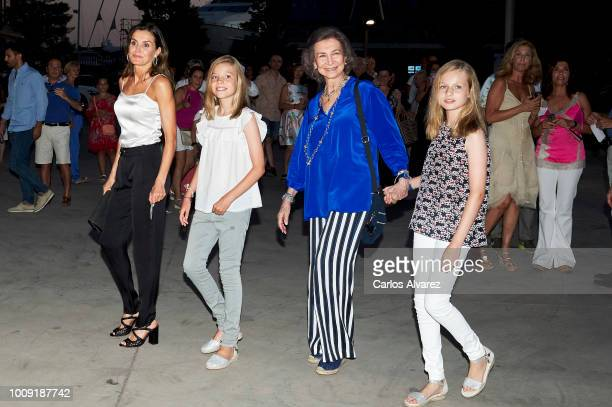 Queen Letizia of Spain Queen Sofia Princess Sofia of Spain and Princess Leonor of Spain attend Ara Malikian concert at Port Adriano on August 1 2018...