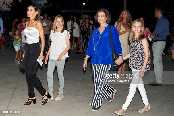Queen Letizia of Spain Princess Sofia of Spain Queen Sofia and Princess Leonor of Spain attend Ara Malikian concert at Port Adriano on August 1 2018...