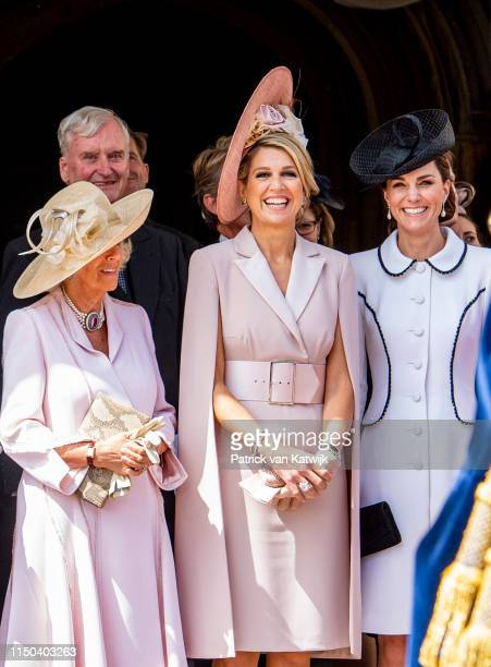 Queen Letizia of Spain Queen Maxima of The Netherlands Camilla Duchess of Cornwall and Catherine Duchess of Cambridge at St George's Chapel on June...