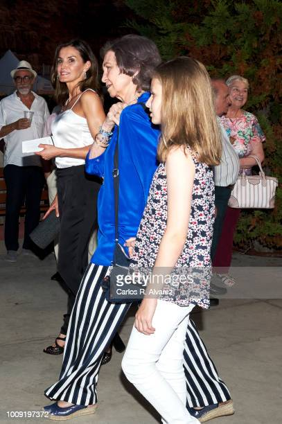Queen Letizia of Spain Queen Sofia and Princess Leonor of Spain attend Ara Malikian concert at Port Adriano on August 1 2018 in Palma de Mallorca...