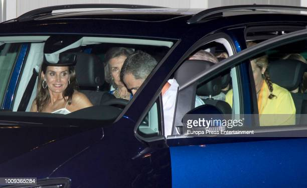 Queen Letizia of Spain Queen Sofia King Felipe VI of Spain and Princess Elena attend Ara Malikian's concert at Port Adriano on August 1 2018 in Palma...