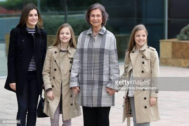 Queen Letizia of Spain Queen Sofia Princess Leonor and Princess Sofia visit King Juan Carlos at La Moraleja Hospitalon April 8 2018 in Madrid Spain