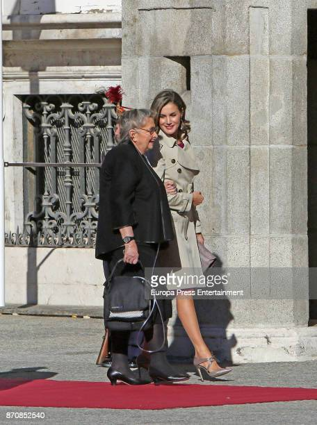 Queen Letizia of Spain receive Israel's president's wife Nechama Rivlin at Royal Palace on November 6, 2017 in Madrid, Spain.