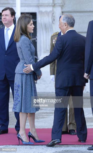 Queen Letizia of Spain receive president of Portugal Marcelo Rebelo de Sousa at the Royal Palace on April 16 2018 in Madrid Spain