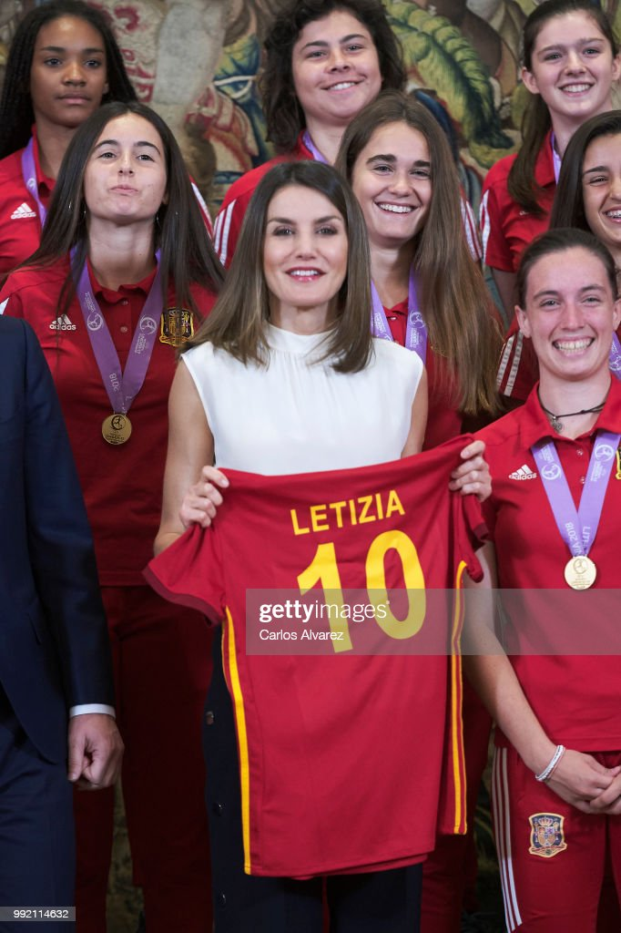 """""""Queen Letizia Of Spain Attend Audiences at Zarzuela Palace"""