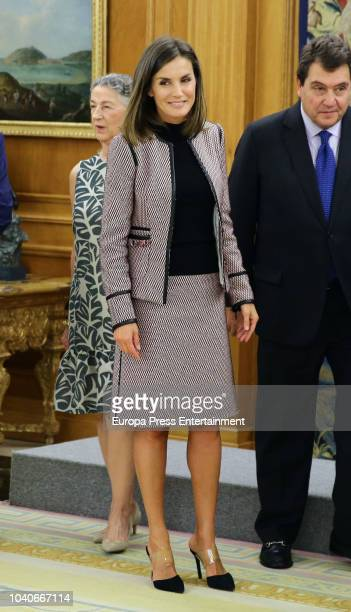 Queen Letizia of Spain and Carlos Zurita receive a comission for the creation of a virreinal painting room at Prado's Museum at Zarzuela Palace on...