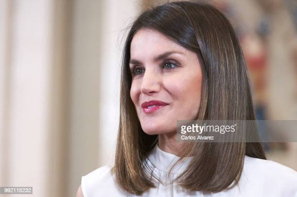 Queen Letizia of Spain receives APRAMP members at the Zarzuela Palace on July 5 2018 in Madrid Spain