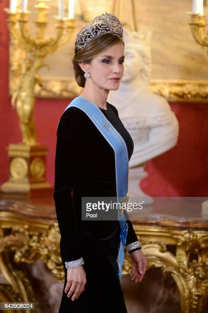 Queen Letizia of Spain receives Argentina's President Mauricio Macri and wife Juliana Awada for an Gala Dinner at the Royal Palace on February 22...