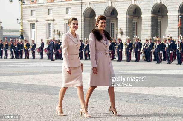 Queen Letizia of Spain receives Argentinian First Lady Juliana Awada at the Royal Palace on February 22, 2017 in Madrid, Spain.