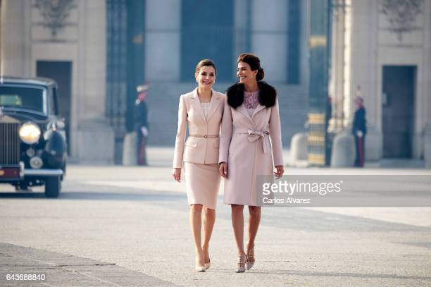 Queen Letizia of Spain receives Argentinian First Lady Juliana Awada at the Royal Palace on February 22 2017 in Madrid Spain