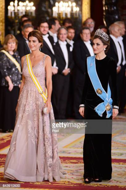 Queen Letizia of Spain receives Argentinian First Lady Juliana Awada for an Gala Dinner at the Royal Palace on February 22 2017 in Madrid Spain