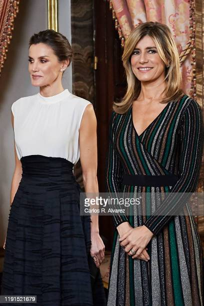 Queen Letizia of Spain receives Begona Gomez because of the United Nations conference for the Climate Summit 2019 at the Royal Palace on December 02...